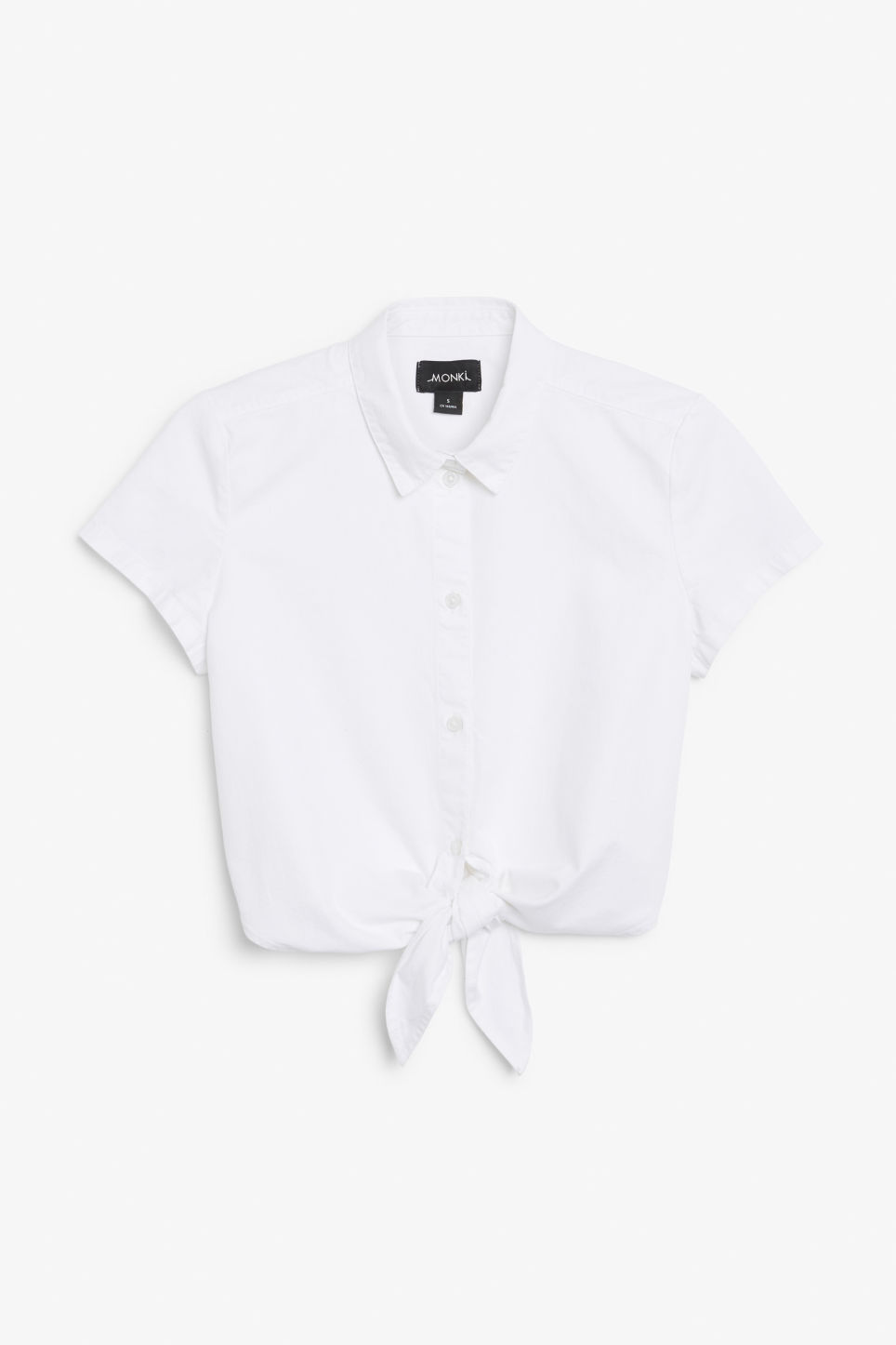 Front image of Monki denim tie front blouse in white