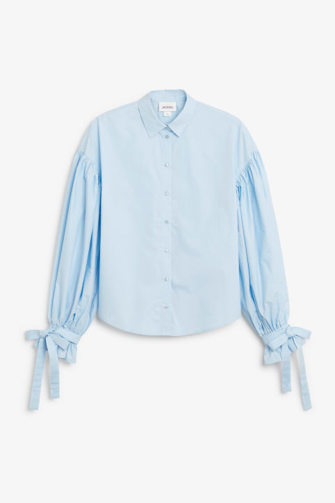 Front image of Monki puffed sleeve shirt in blue