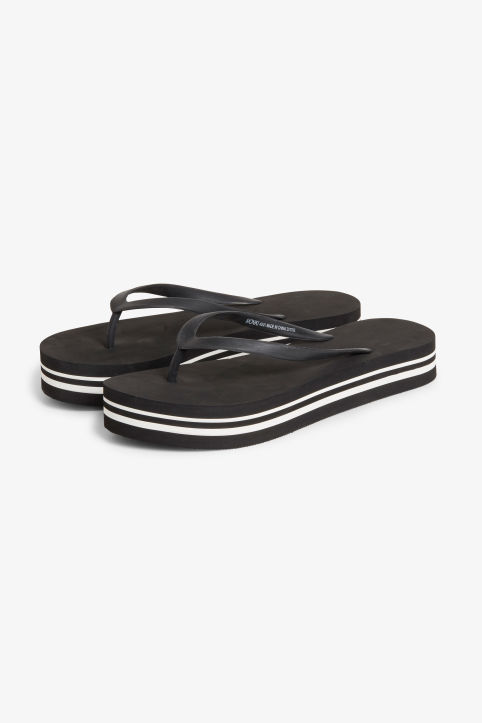 Front image of Monki platform flip flops in black