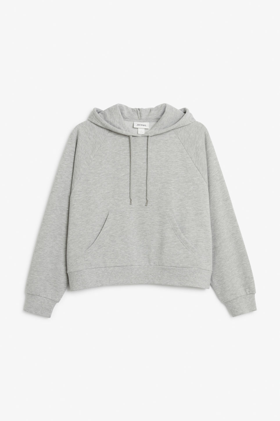 Front image of Monki cropped hoodie in grey