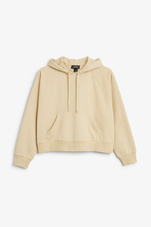 Front image of Monki cropped hoodie in beige