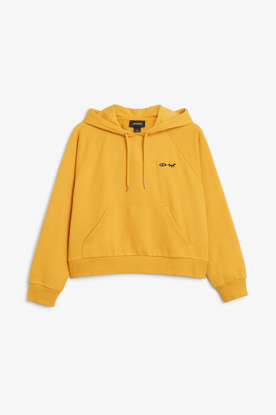 Front image of Monki cropped hoodie in yellow