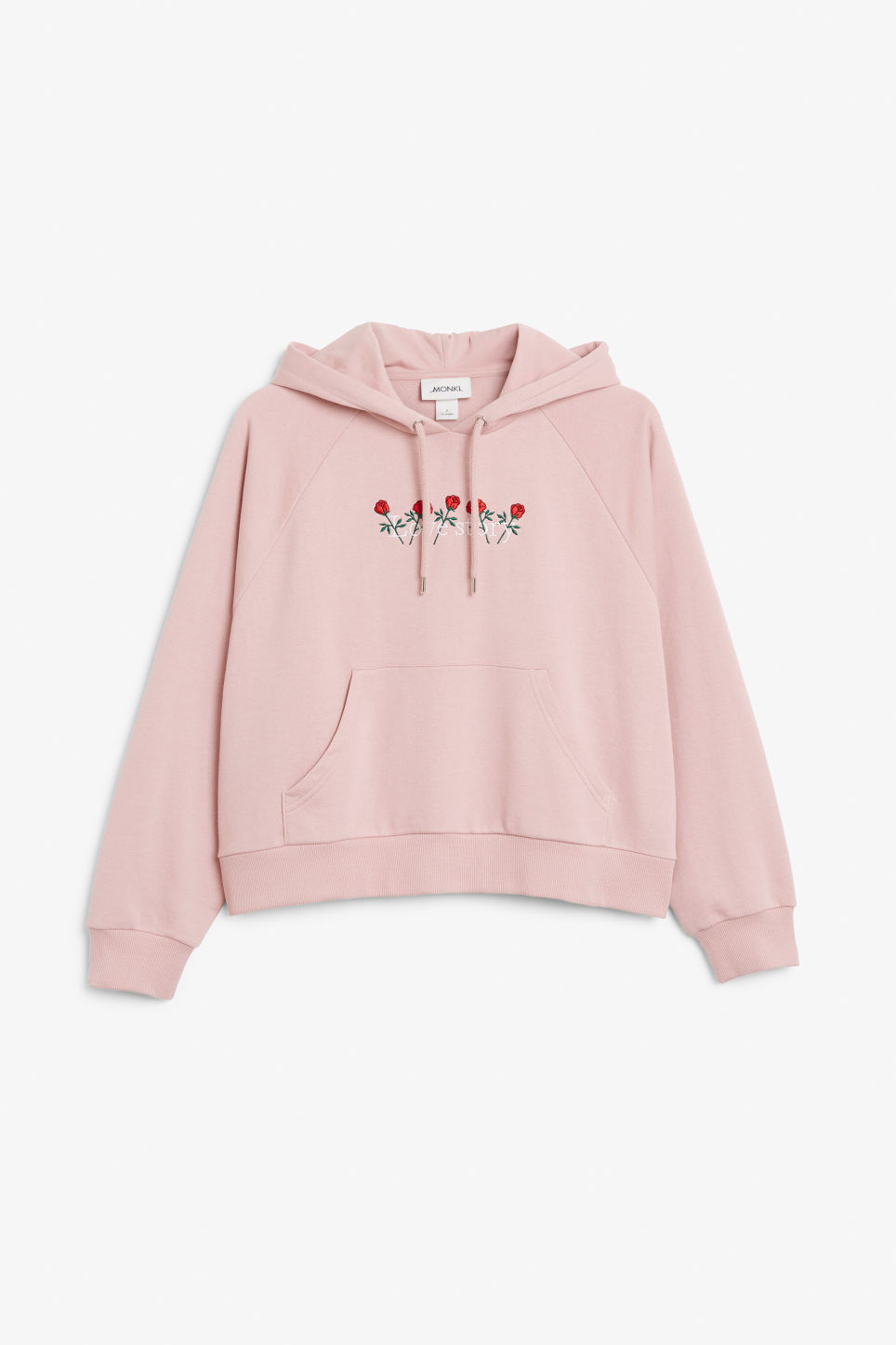 Front image of Monki cropped hoodie in pink