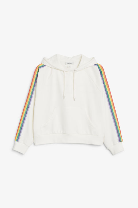 Front image of Monki cropped hoodie in white
