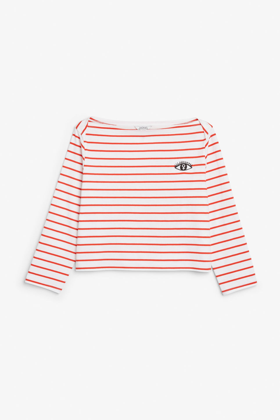 Front image of Monki long-sleeved top in red