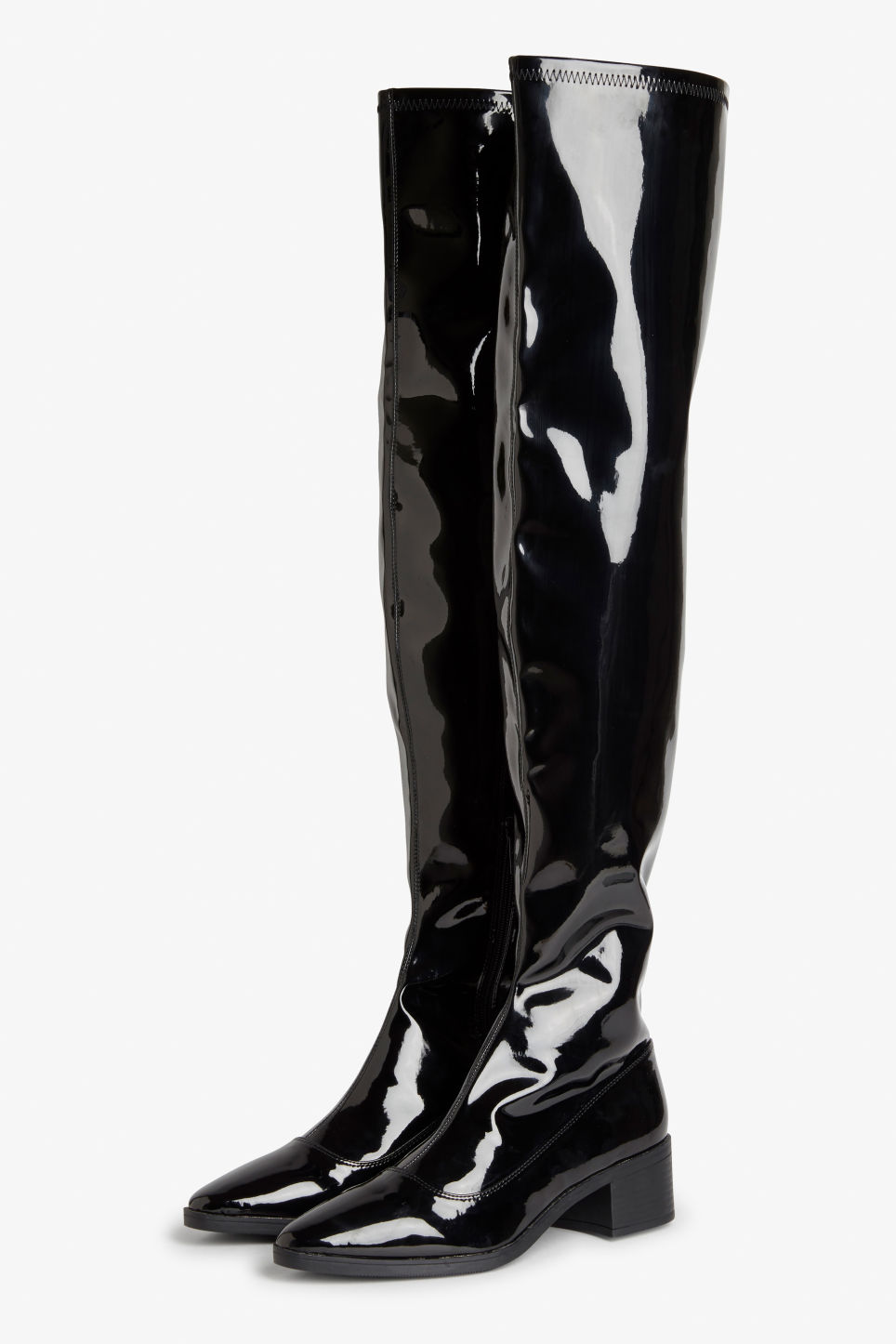 Front image of Monki over the knee boots in black