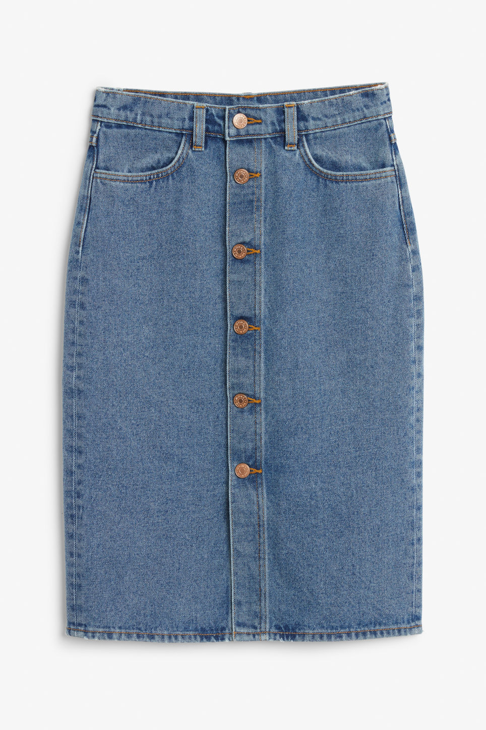 Front image of Monki long denim skirt in blue