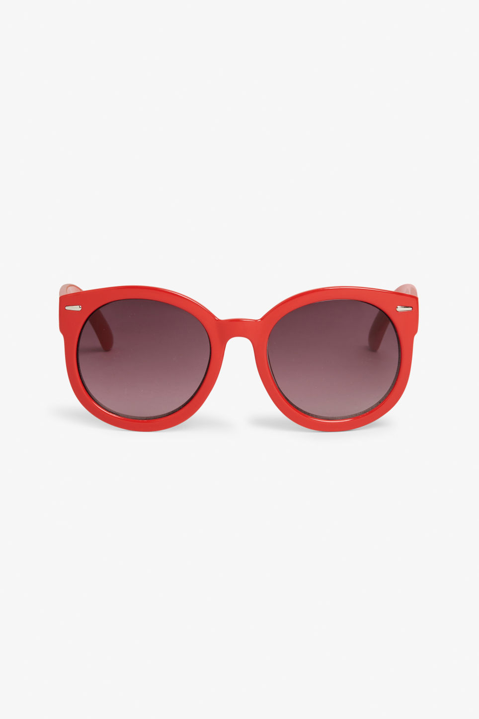 Front image of Monki round lense shades in red