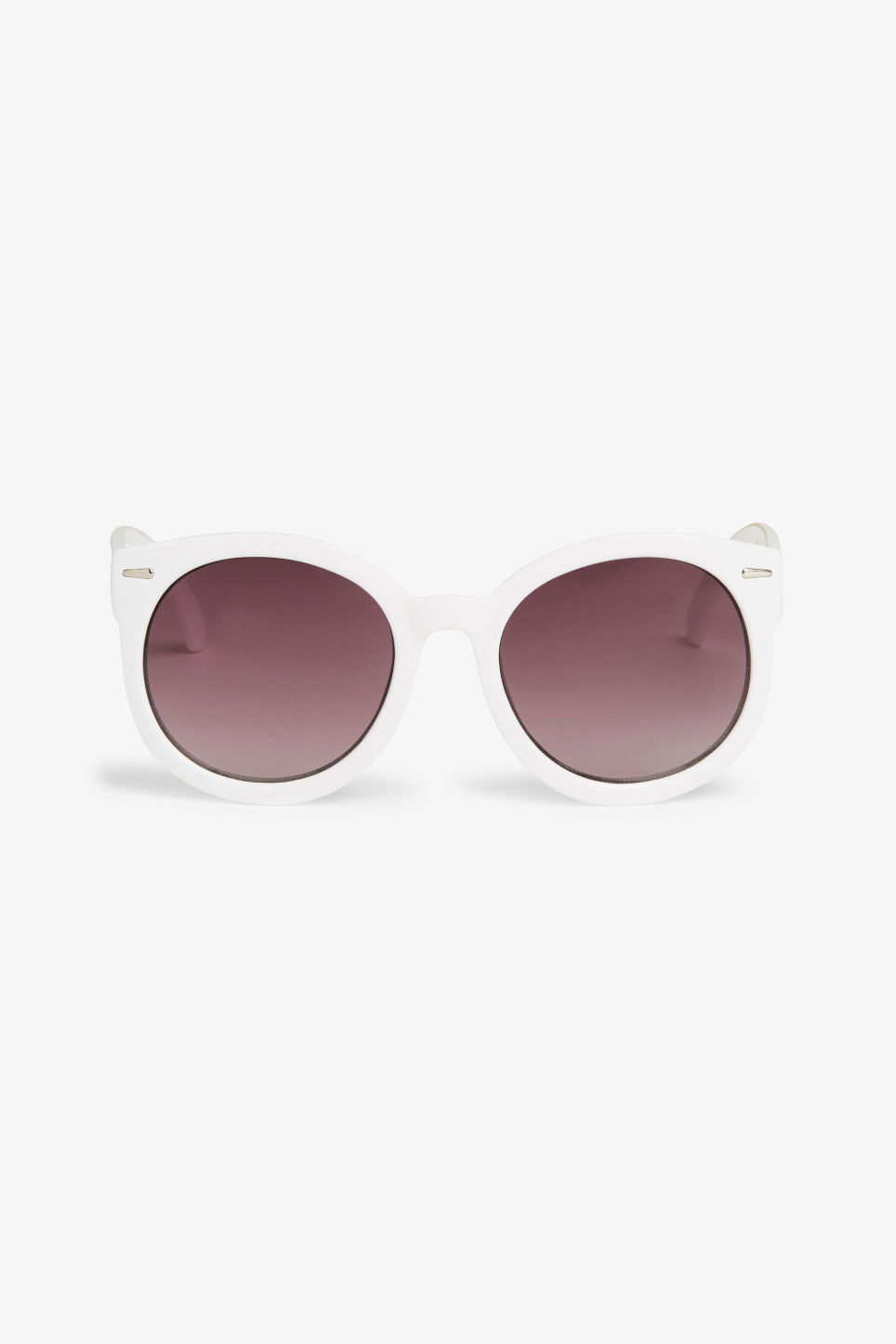 Front image of Monki round lense shades in white