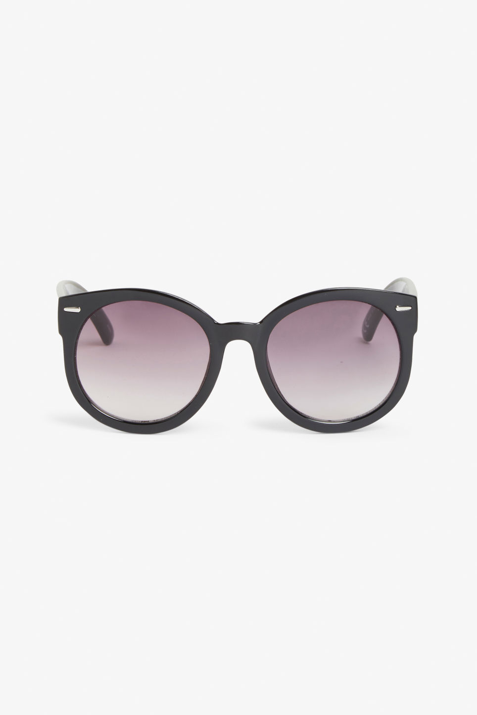 Front image of Monki round lense shades in black