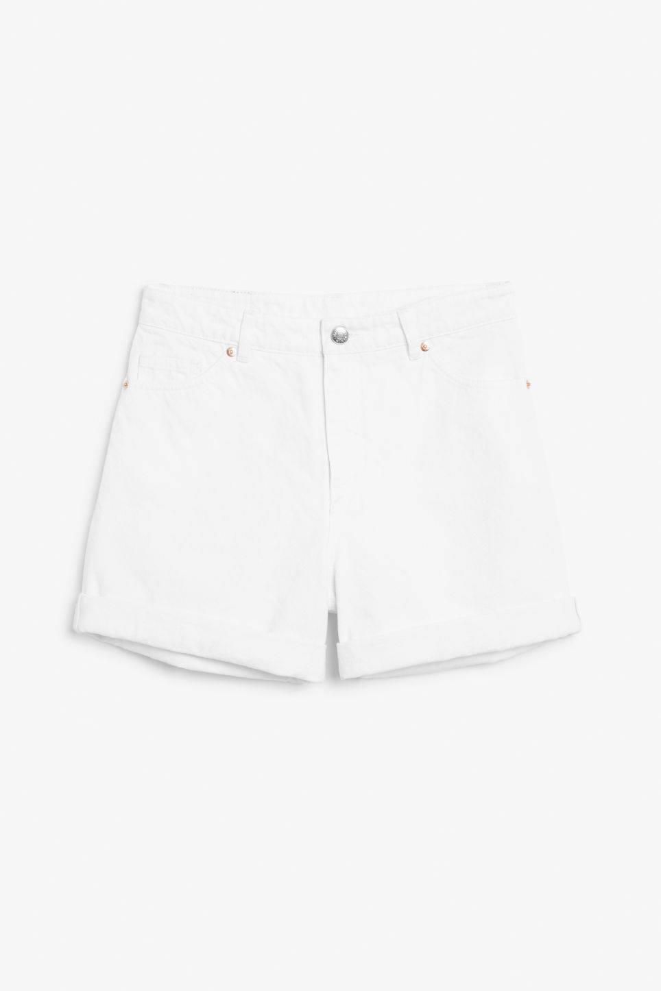 Front image of Monki denim shorts in white