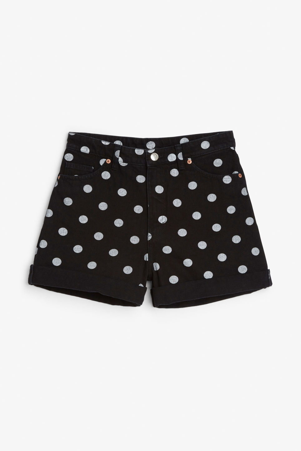 Front image of Monki denim shorts in black