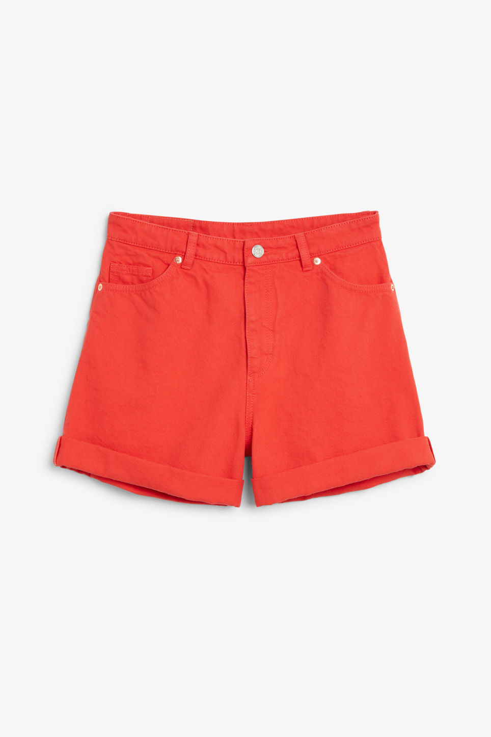 Front image of Monki denim shorts in red
