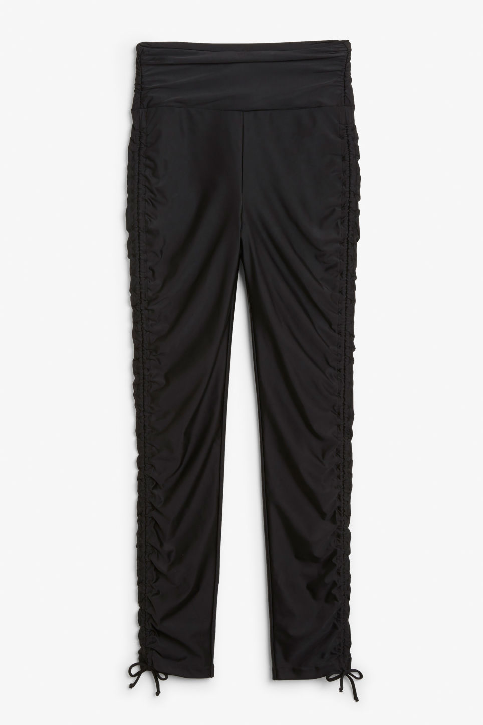 Front image of Monki ruffled tights in black