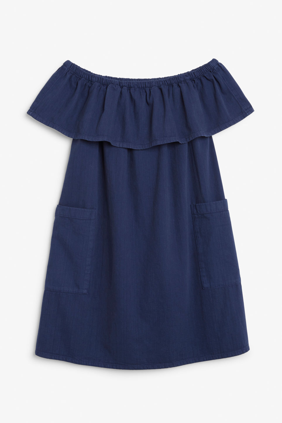 Front image of Monki ruffled denim dress in blue