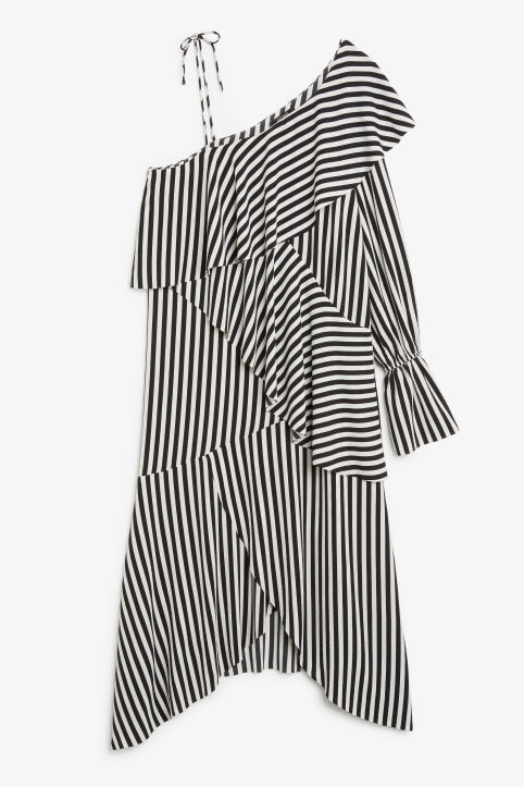 Front image of Monki one-shoulder dress in black