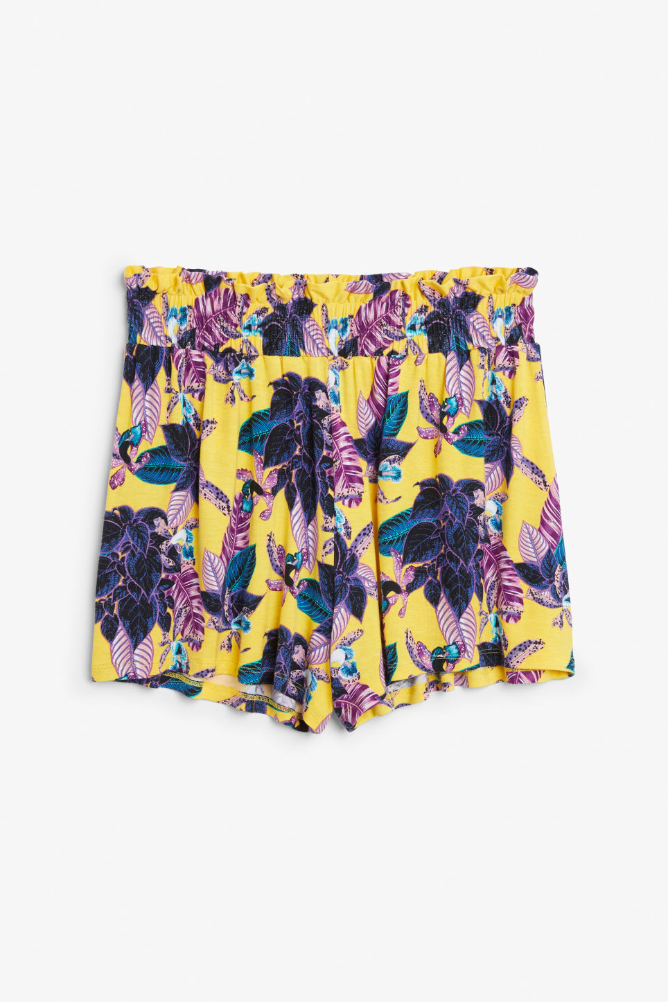 Front image of Monki soft shorts in yellow