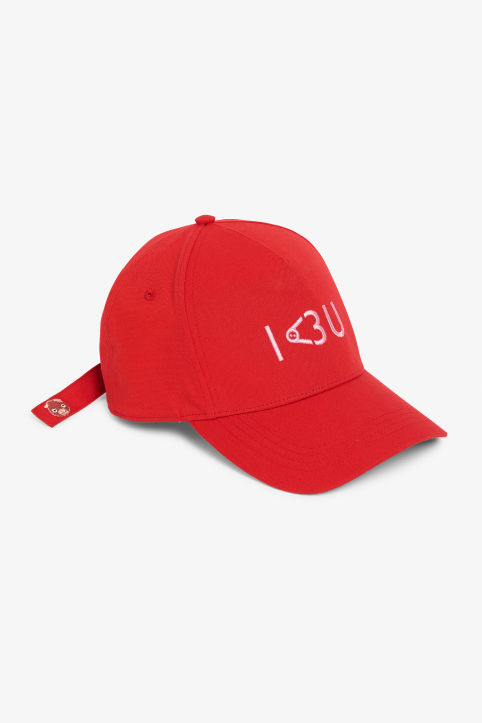 Front image of Monki baseball hat in red