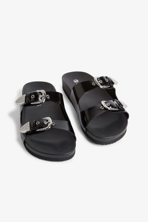 Front image of Monki buckle detail sandals in black