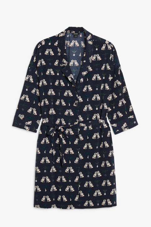 Front image of Monki belted shirt dress in blue