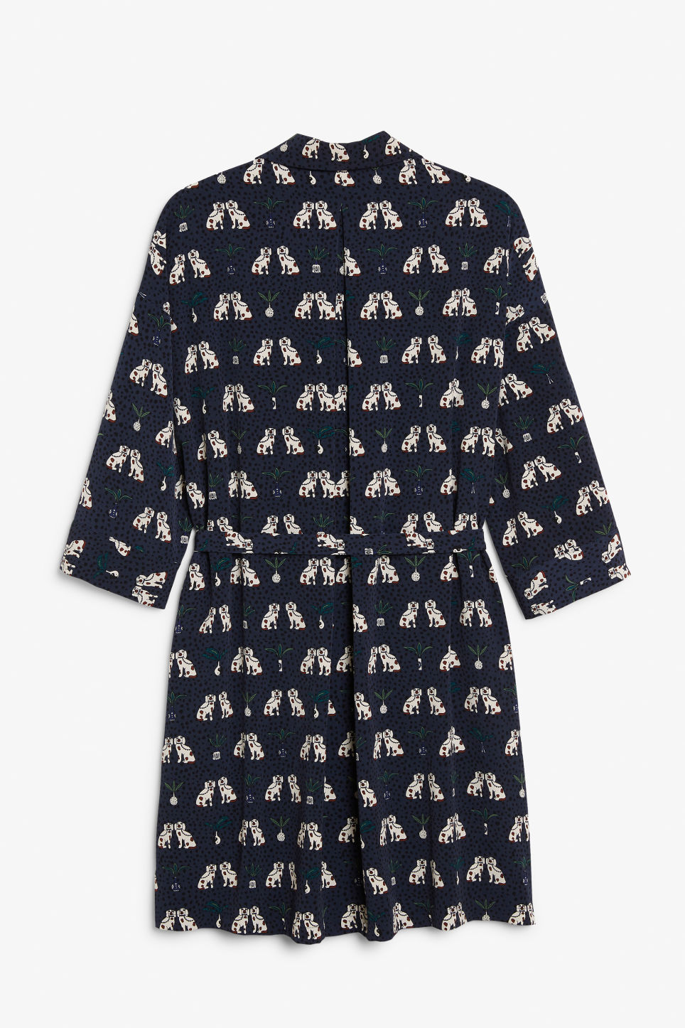 Back image of Monki belted shirt dress in blue