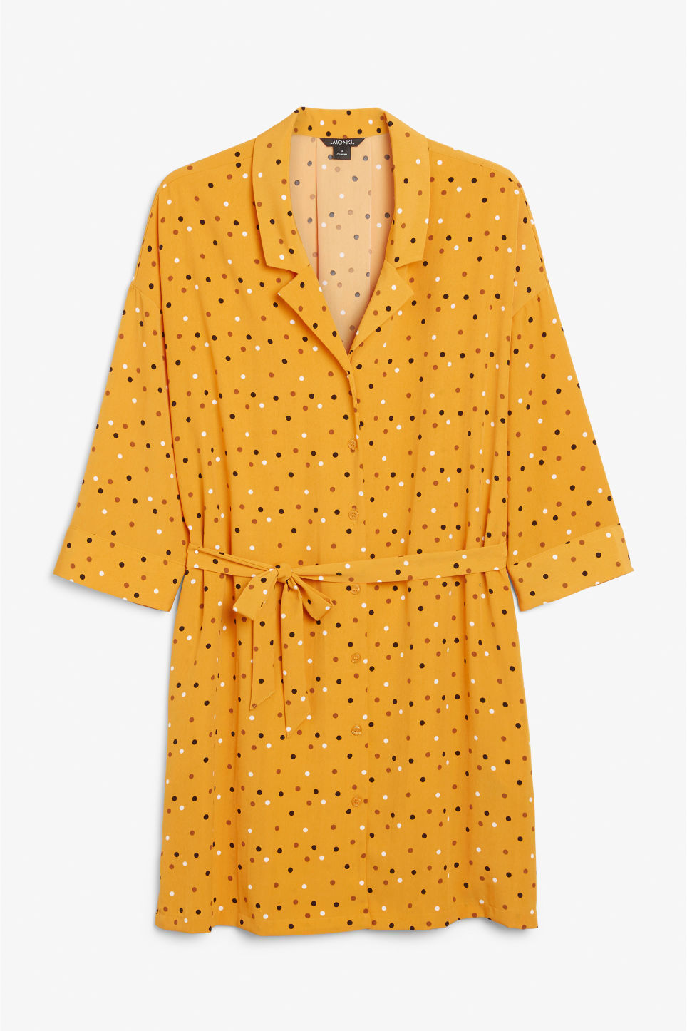 Front image of Monki flowy shirt dress in yellow