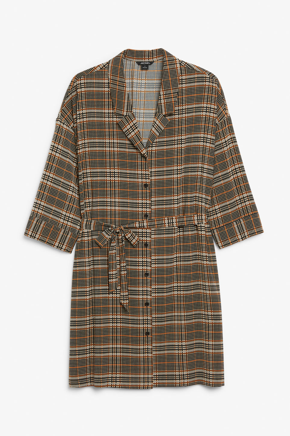 Front image of Monki belted shirt dress in beige