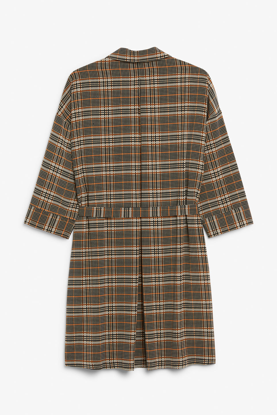 Back image of Monki belted shirt dress in beige