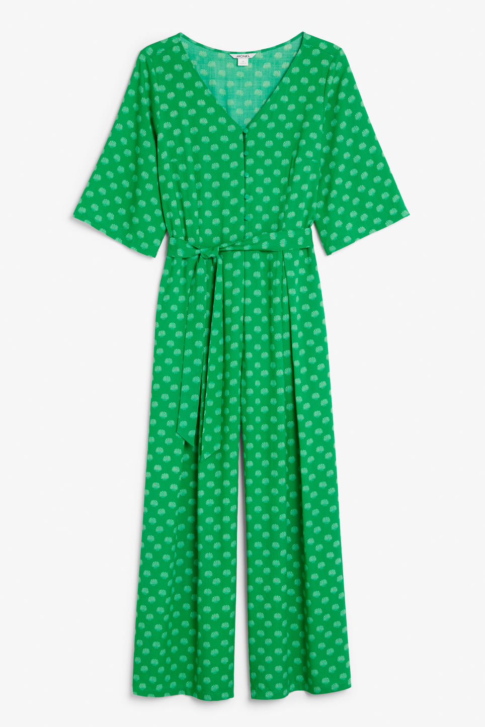 Front image of Monki flowy jumpsuit in green