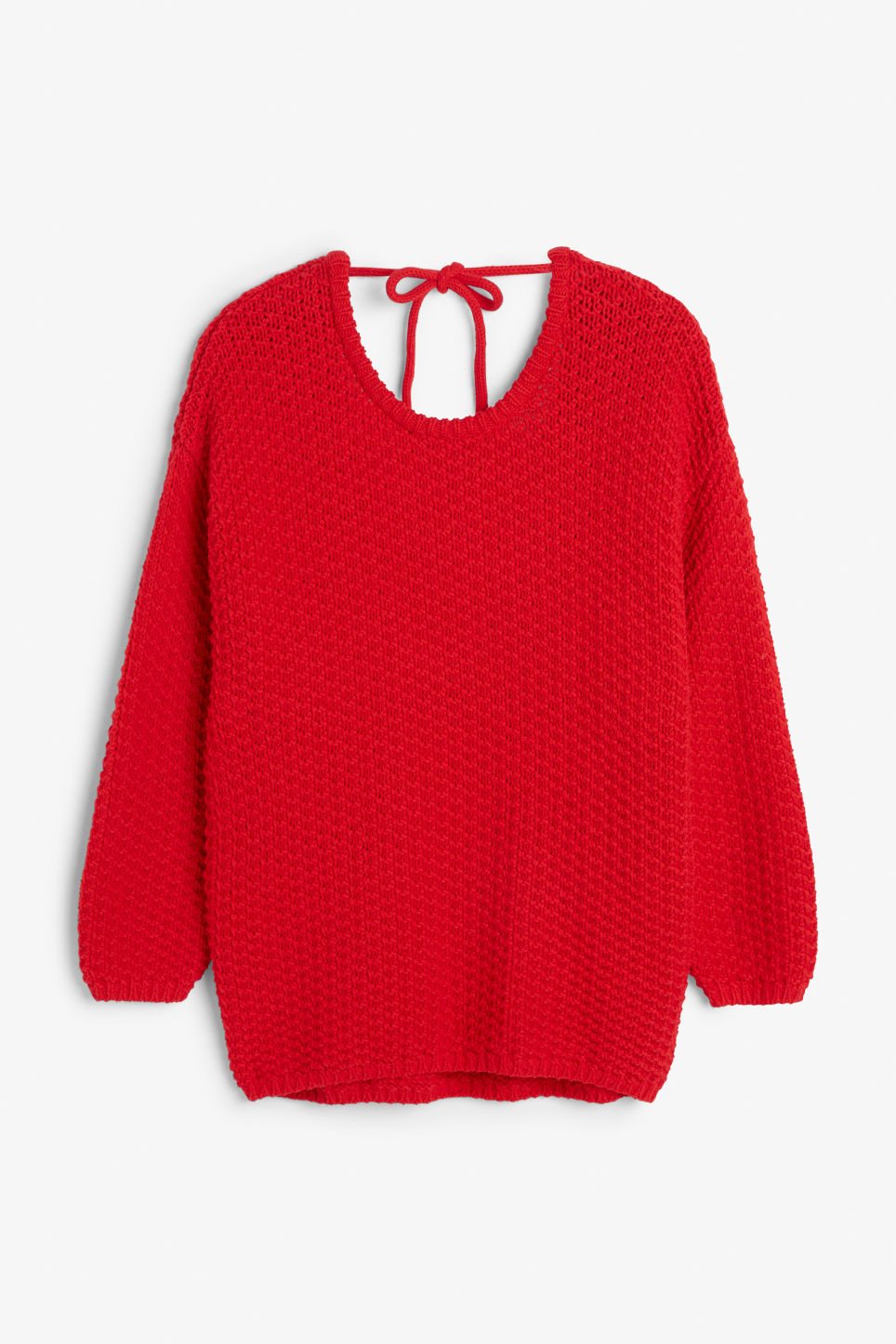 Front image of Monki chunky low back sweater in red