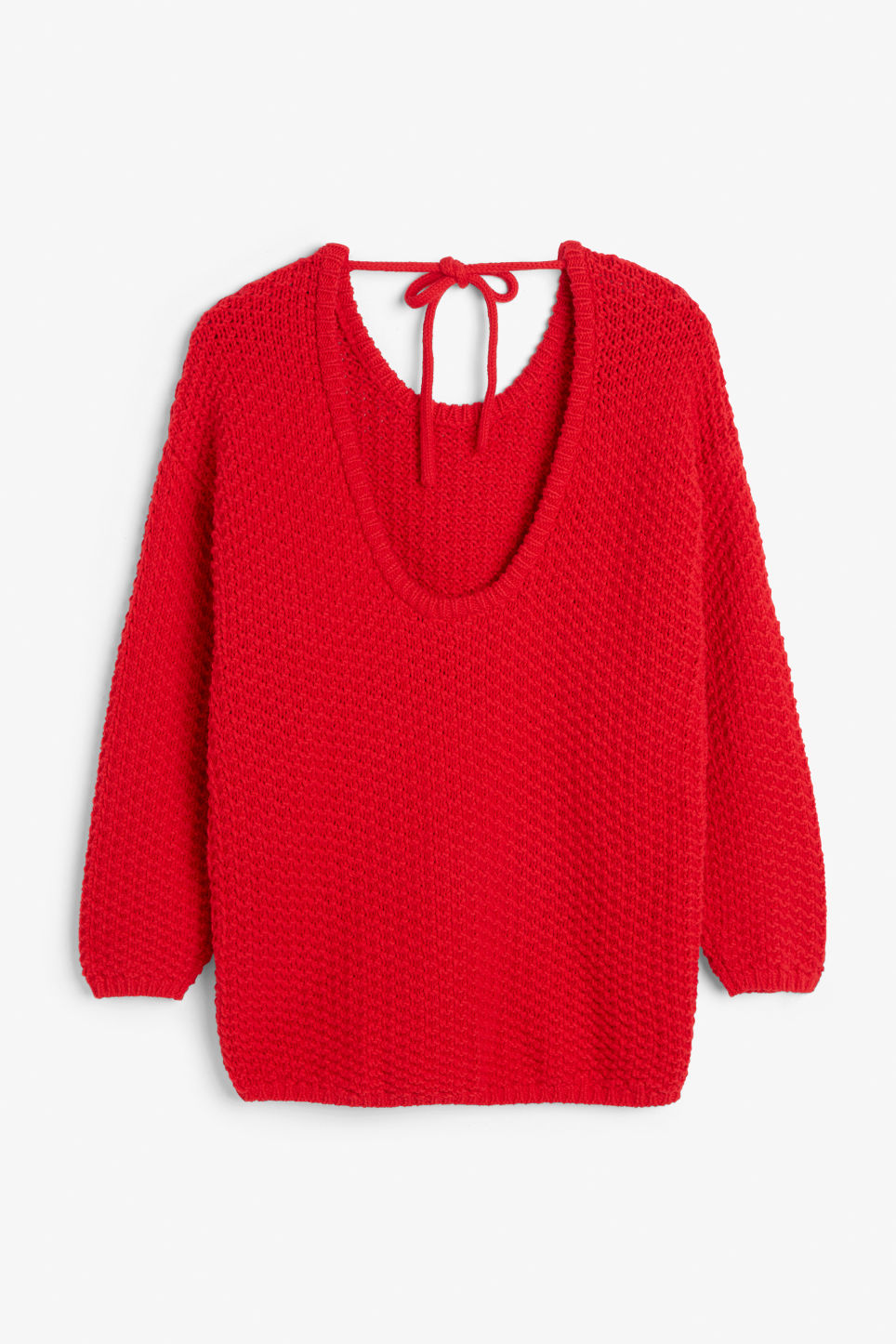 Back image of Monki chunky low back sweater in red