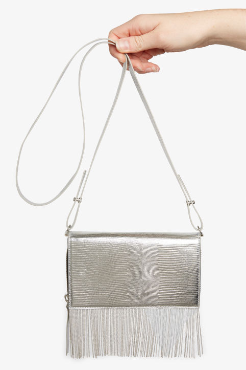 Front image of Monki shoulder wallet in silver