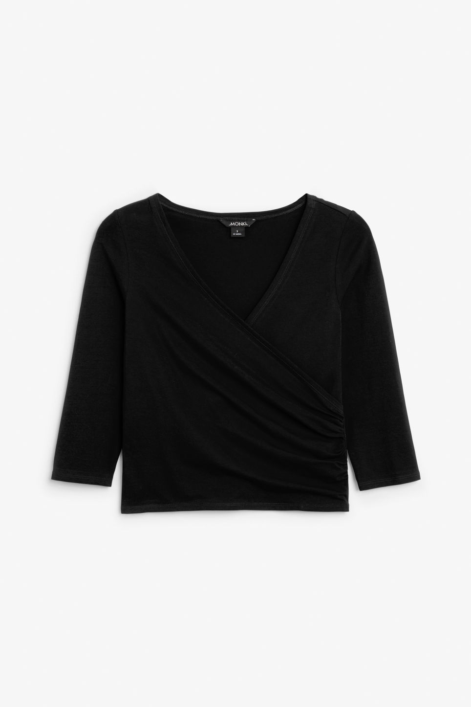 Front image of Monki cotton wrap top in black