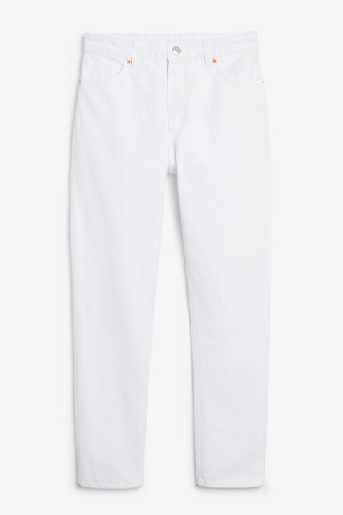 Front image of Monki kimomo white jeans in white