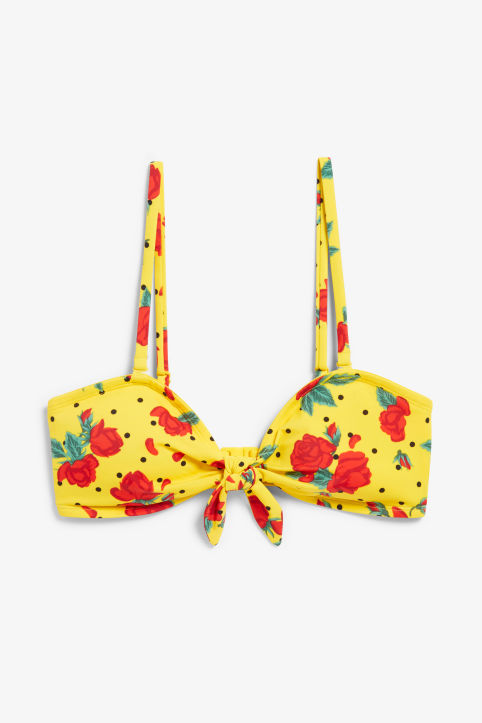Front image of Monki bikini top with a bow in yellow