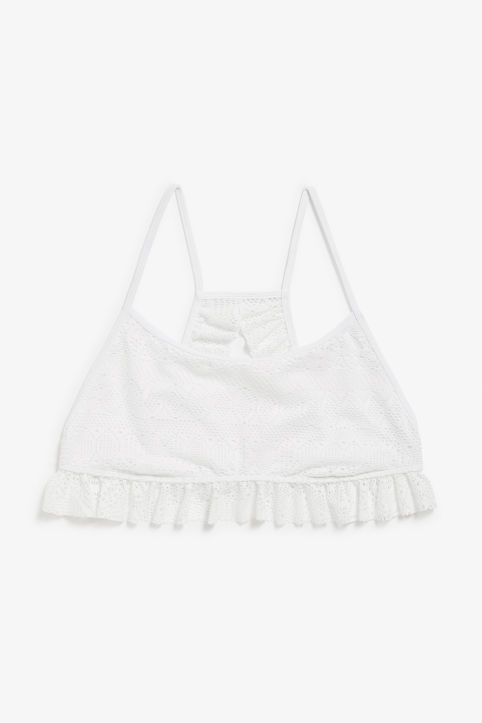 Front image of Monki ruffled lace bikini top in white