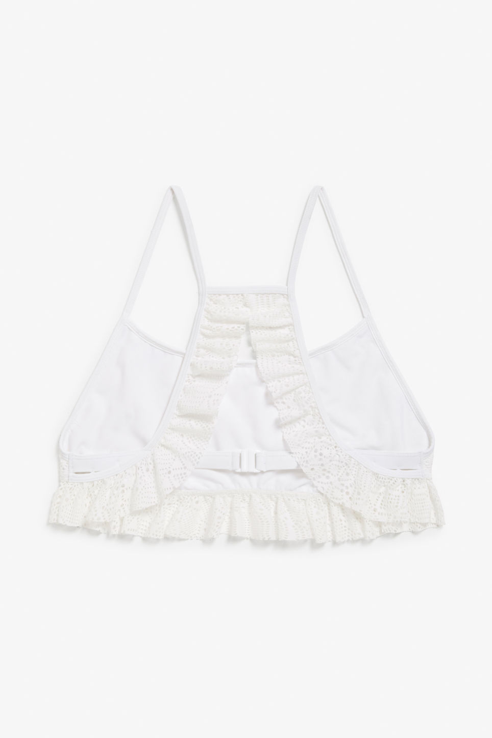 Back image of Monki ruffled lace bikini top in white