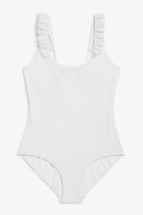 Front image of Monki ruffled lace swimsuit in white