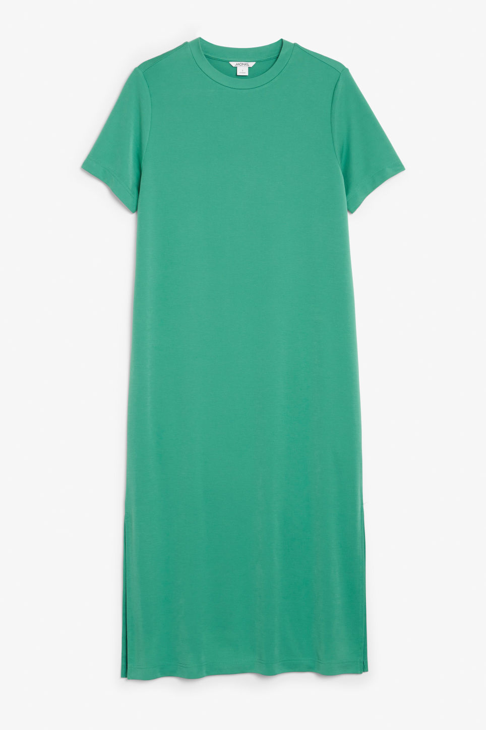 Front image of Monki super-soft t-shirt dress in green