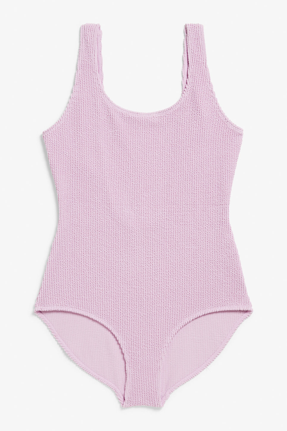 Front image of Monki shirred swimsuit in purple