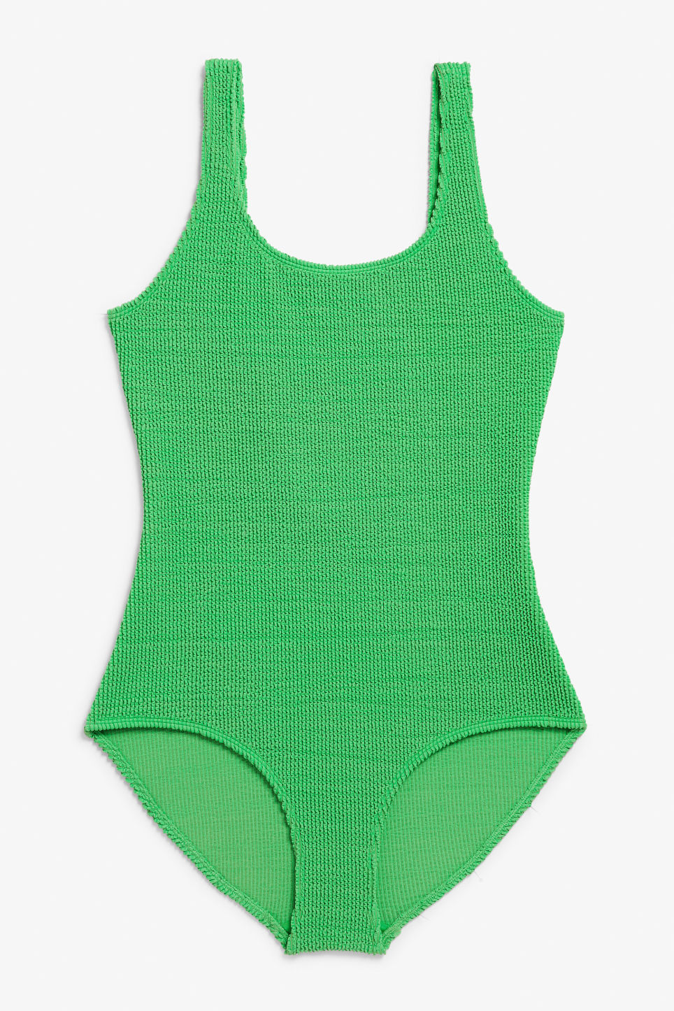 Front image of Monki shirred swimsuit in green
