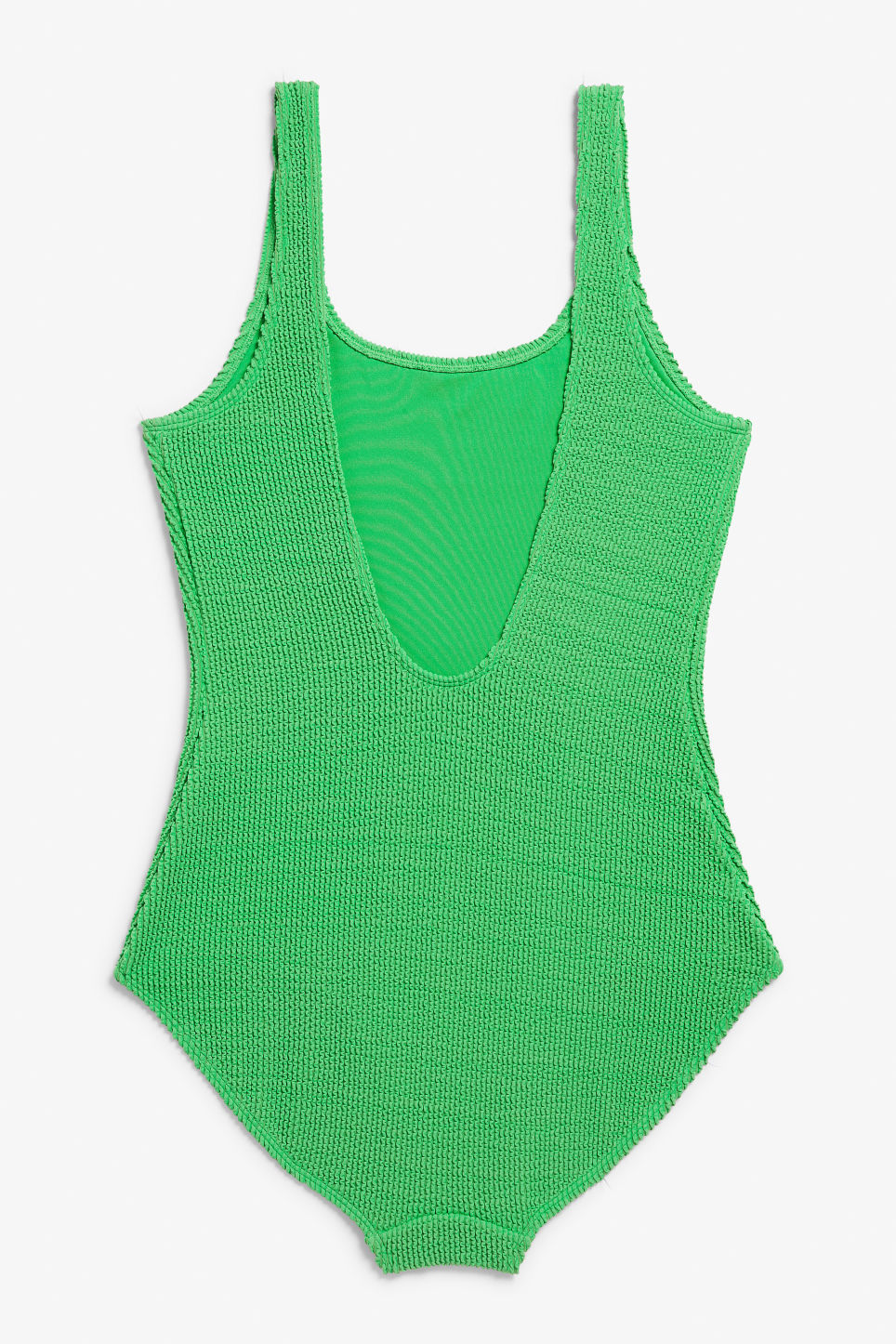 Back image of Monki shirred swimsuit in green