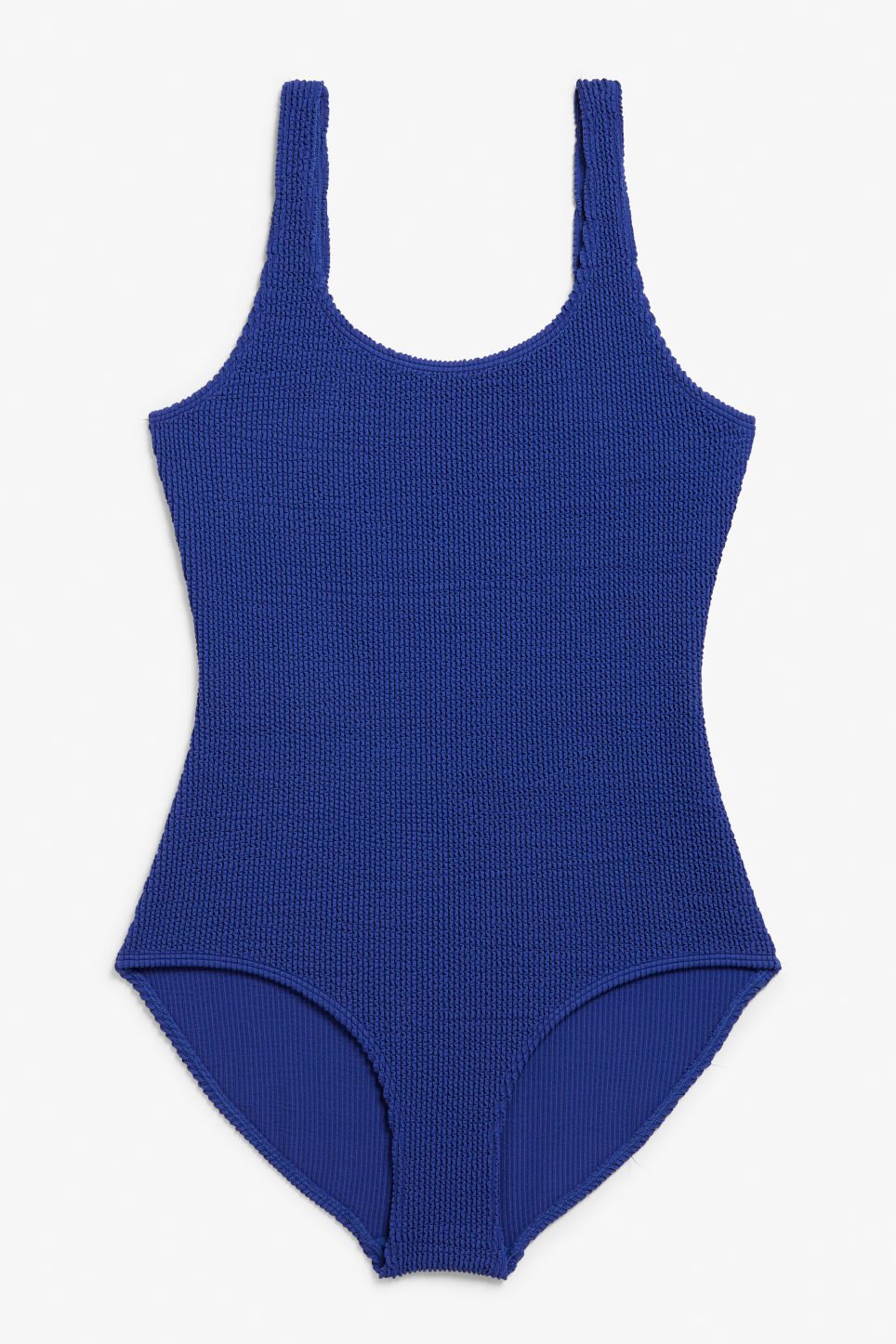 Front image of Monki shirred swimsuit in blue