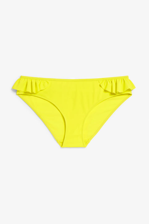 Front image of Monki bikini brief with ruffles in yellow