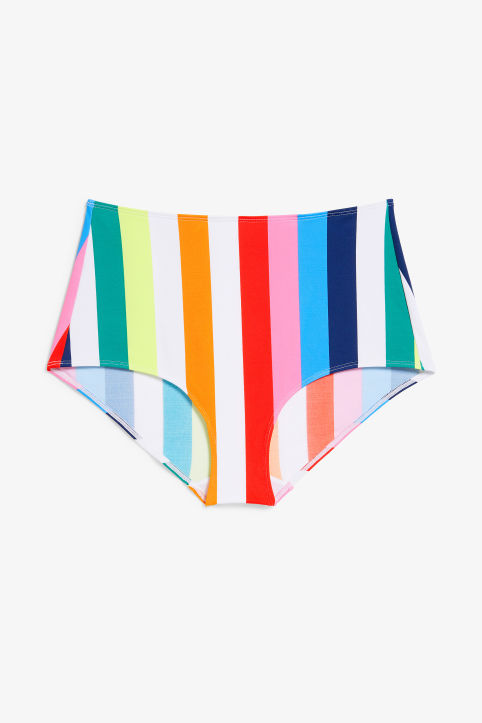 Front image of Monki high-waisted bikini briefs in pink