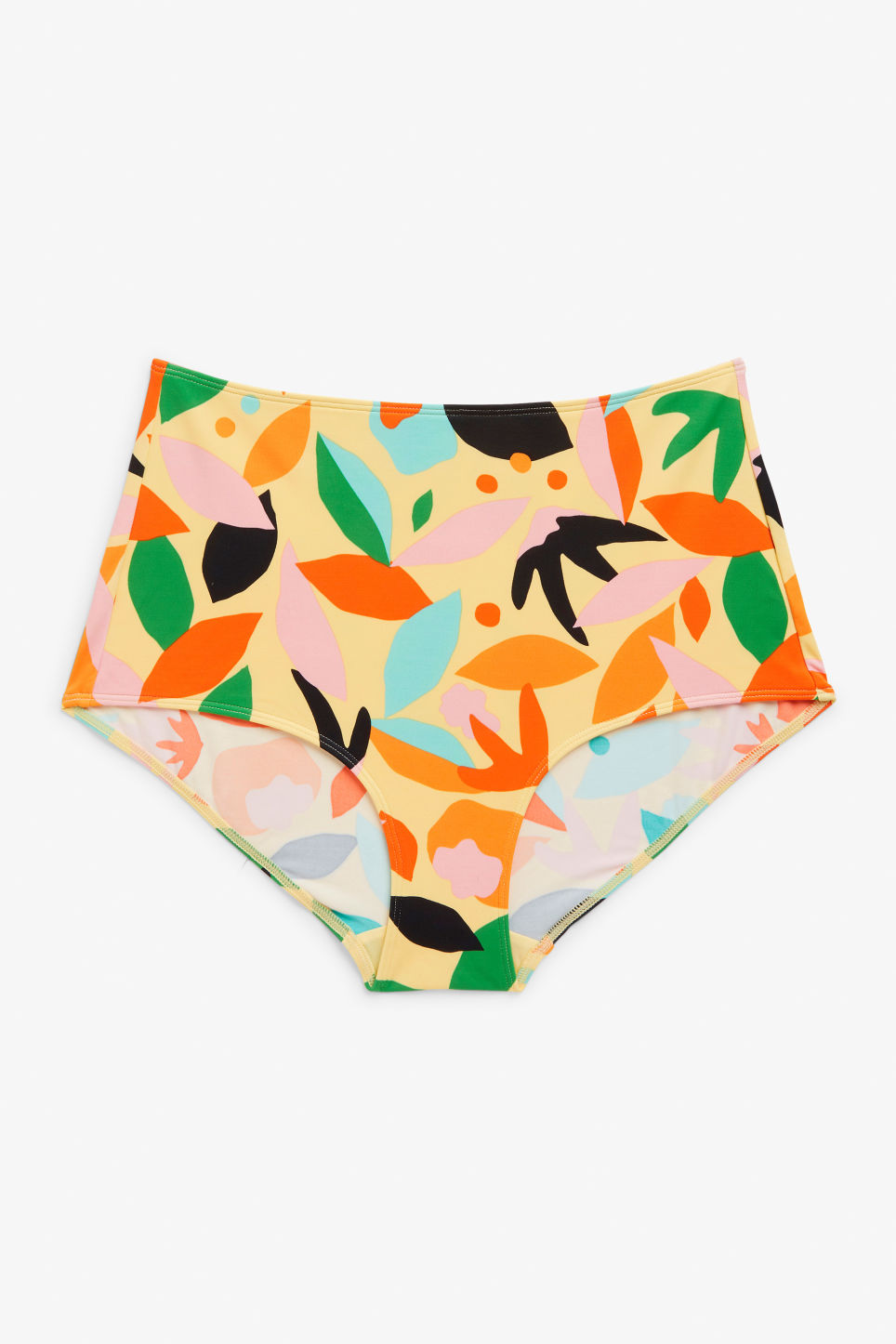 Front image of Monki high-waisted bikini briefs in yellow