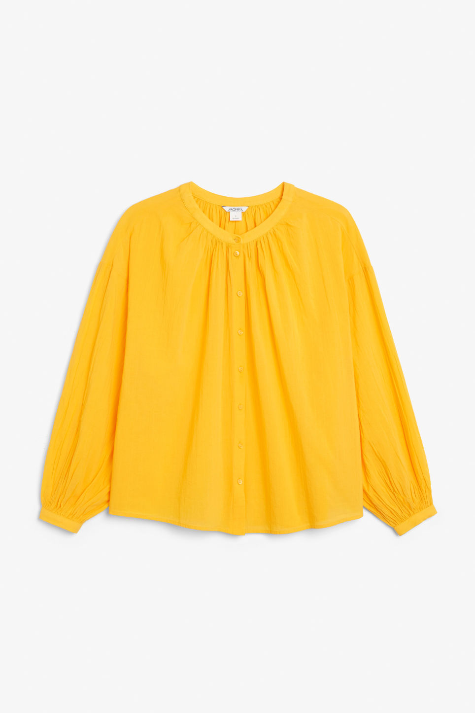 Front image of Monki button up blouse in yellow