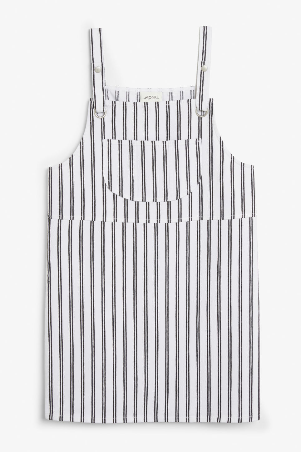 Front image of Monki dungaree dress in white