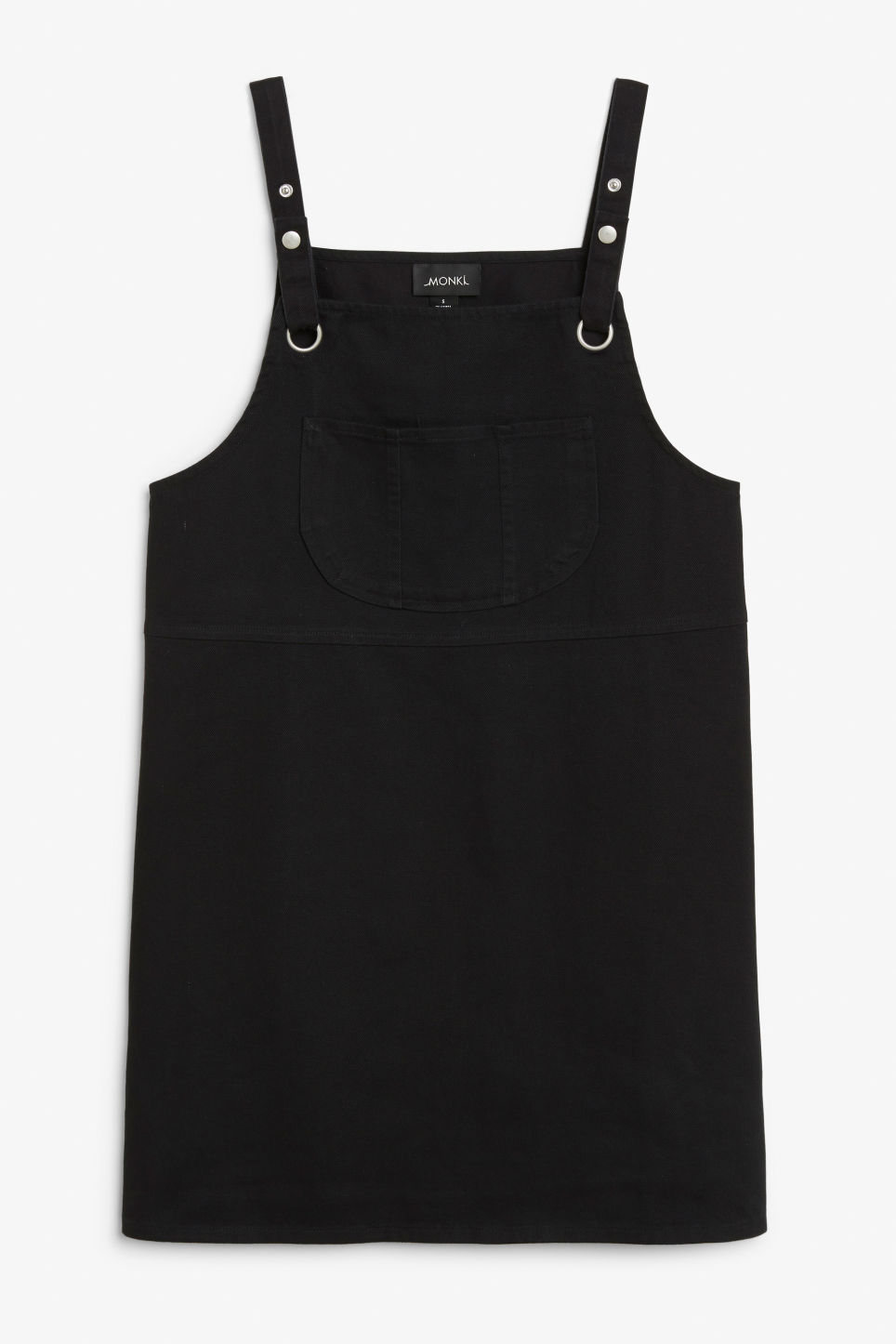 Front image of Monki dungaree dress in black