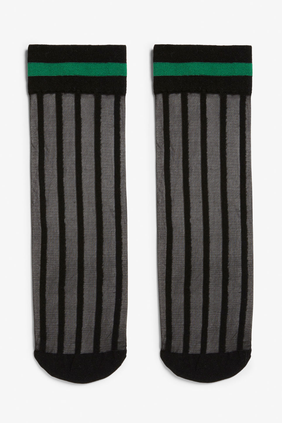 Front image of Monki transparent socks in green